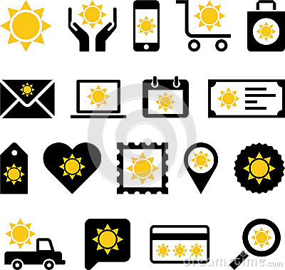 Business web icons with sun