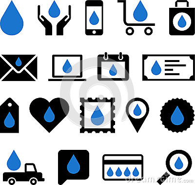 Business web icons with water drop