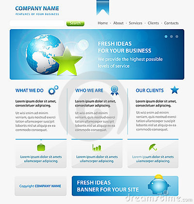 Business web site design template with Earth