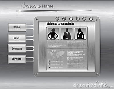 Business website design template, metallic silver.