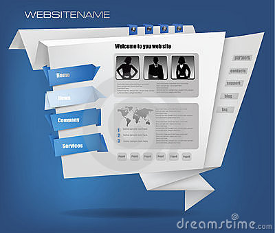 Business website template with origami. Vector