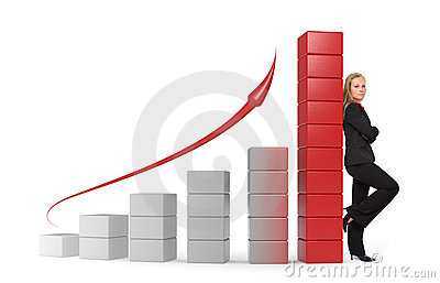 Business woman - 3d graph