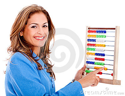 Business woman with abacus