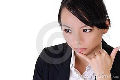 Business woman with alone expression