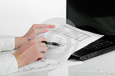 Business woman analyzing financial data