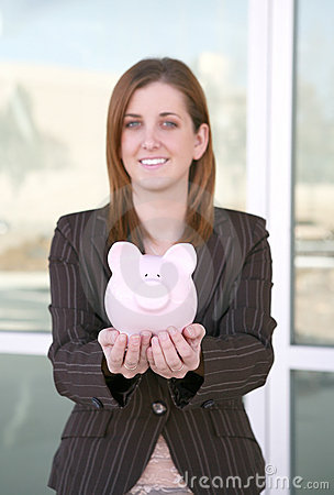 Free Business Woman And Bank (focus On Piggy Bank) Stock Photography - 1742362