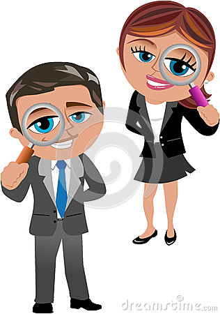Free Business Woman And Man With Magnifying Glass Royalty Free Stock Photography - 38524037