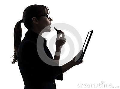 Business woman applying lipstick computer computing  digital tab