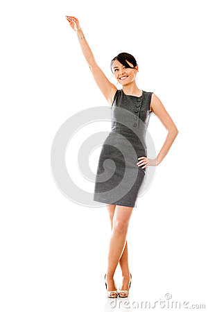 Business woman with arm stretched