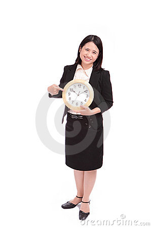 Business woman (asian) with a clock