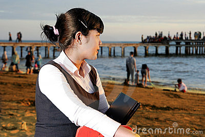 Business woman at beach