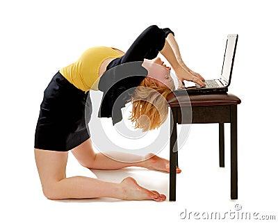 Business Woman Bending Over Backwards