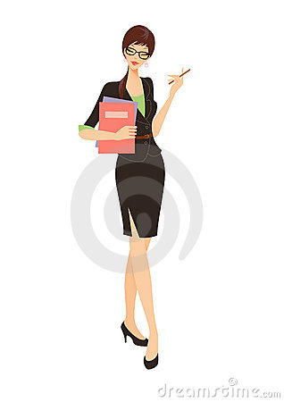 Business woman in black suit holding a folder