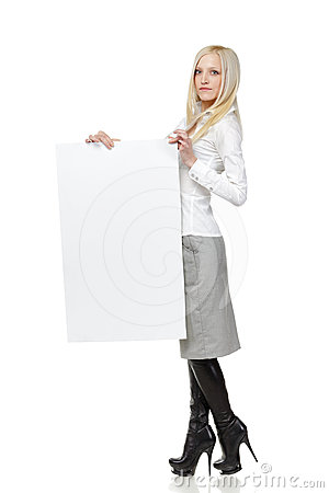 Business woman with blank board