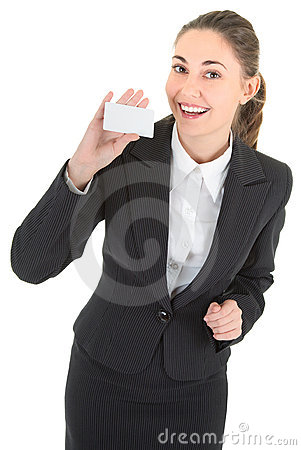 Business woman with blank payment card