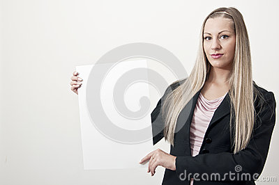 Business woman with  blank sign