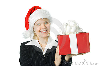 Business woman with box gift