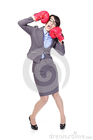 Free Business Woman Boxing And Knock Down Itself Royalty Free Stock Photo - 28634625