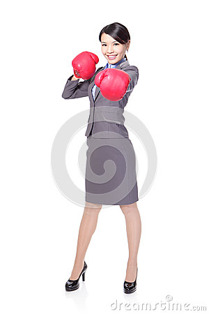 Business woman boxing, punching