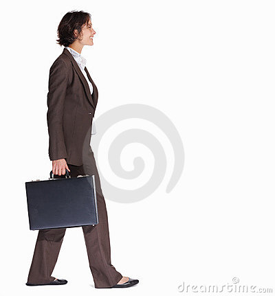 Business woman with a briefcase walking