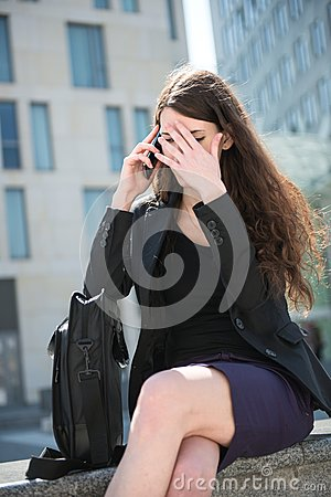 Free Business Woman Calling Phone - Problems Royalty Free Stock Image - 24801206