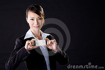 Business woman with a card