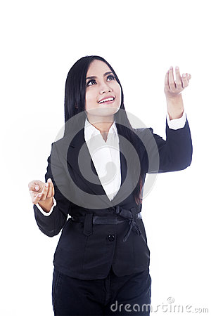 Business woman carry something on copyspace