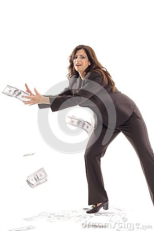 Business woman catching money center