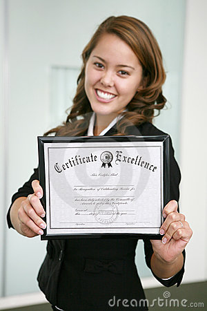 Business Woman With Certificate (focus On Certificate) Stock Image - Image: 1809631