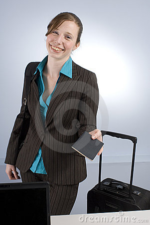 Business Woman at Check-in handing passport