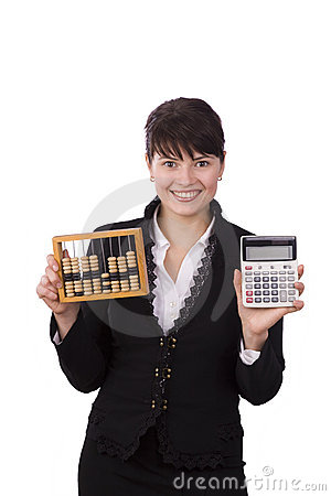 Business woman choice abacus or calculator