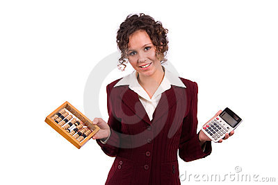Business woman choice abacus and calculator