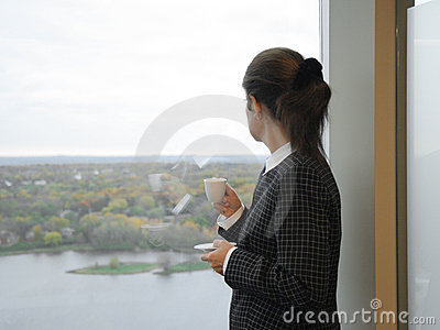 Business woman, coffee break