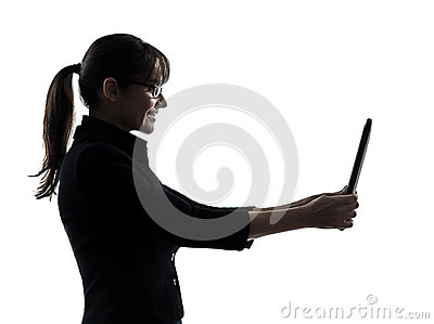 Business woman computer computing  digital tablet silhouette
