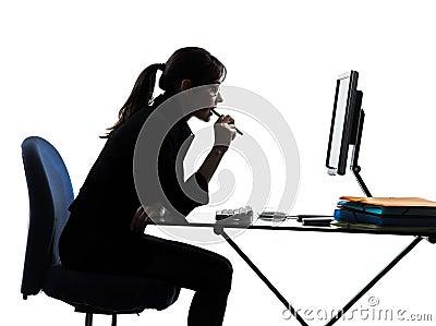 Business woman computer computing  silhouette