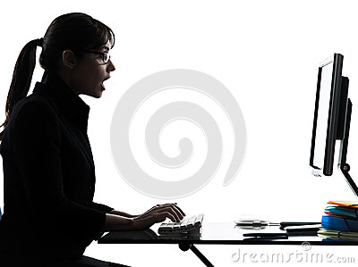 Business woman computer computing  surprised  silhouette