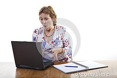 Business woman computer crash