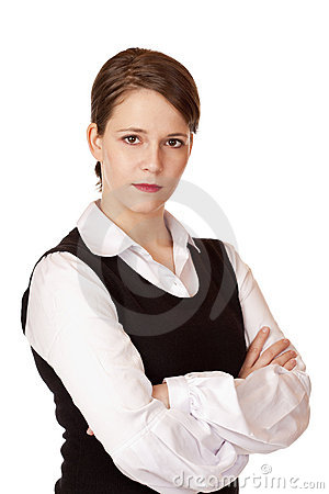 Business woman with crossed arms looks seriously