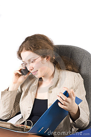 The business woman with a documents and phone