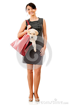 Business woman with a dog