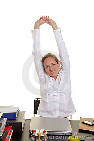 Business woman doing back exercises