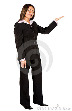 Business woman doing a presentation - smiling