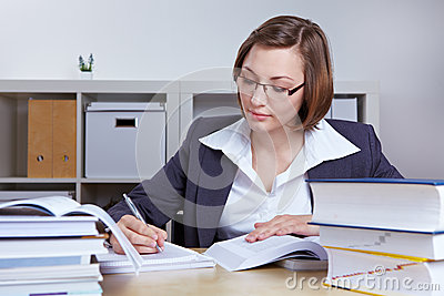 Business woman doing research