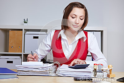 Business woman doing tax audit