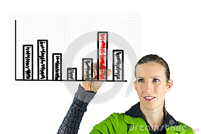Business woman drawing business graph
