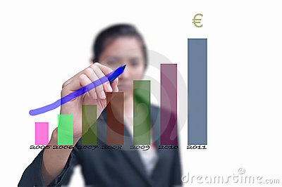 Business woman drawing increasing graph