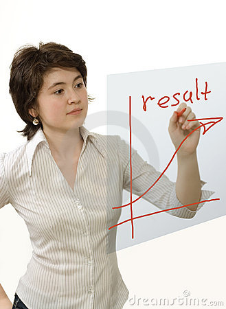 Business woman drawing  red graph