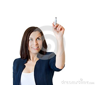 Business woman drawing something