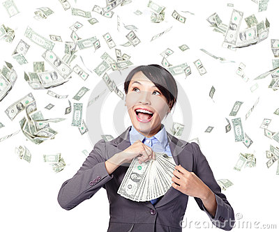 Business woman with earned money