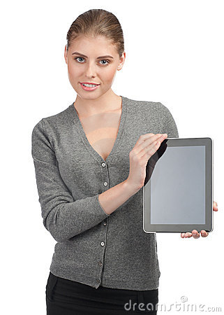 Business woman with electronic tablet